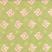 Moda Avalon by Fig Tree - 2444 - Red Cherries on Mid Green Background - 100% Cotton Fabric